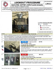 Lockout Procedure Sample